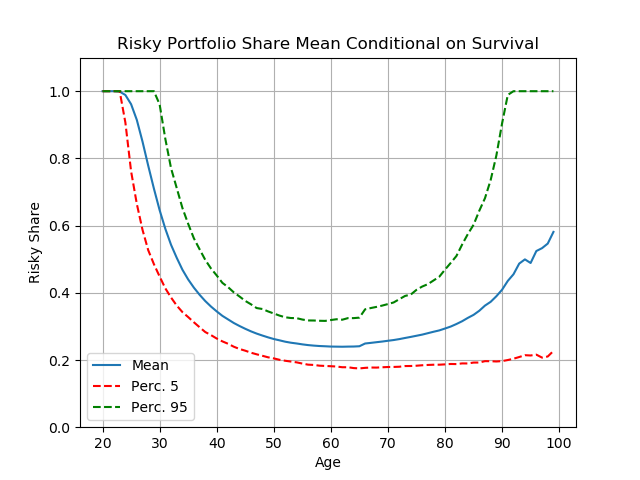 Figure 4. Portfolio choice for pessimistic and highly risk averse consumers